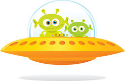 UFO. Illustration of UFO with two green alien royalty free illustration