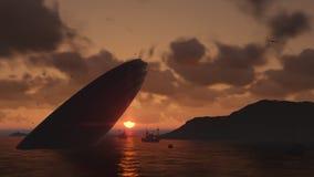 UFO-Abbruch in ein Meer Lizenzfreie Stockfotos