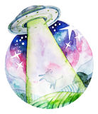 UFO abducting a cow from the fields. Watercolor art  on white background Stock Images