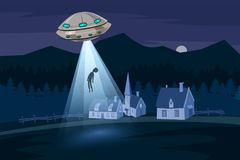UFO abducting a men, summer night farm landscape, in the night field with houses, vector background with stars and moon. In the sky Stock Image