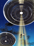 Ufo abduction. Alien spaceship kidnapping an human female. Digital illustration Stock Photo