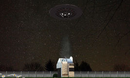Ufo abduction. In country house Royalty Free Illustration
