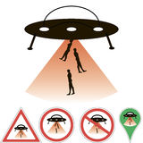 UFO abduction. Alien ship beam, signs and pointers vector, for design or printing Vector Illustration