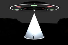 UFO abduction. Big UFO kidnapping a man with big white light Stock Illustration