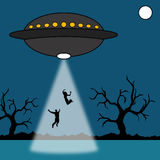 Ufo abduction. Night time abduction by alien ufo Vector Illustration