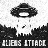 UFO abducts cow. Vintage illustration of Aliens Attack with spaceship and UFO light ray to Earth. Royalty Free Stock Images