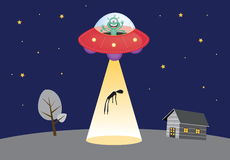 UFO abducts human silhouette in spot light. Funny Alien and UFO   illustration Royalty Free Stock Image