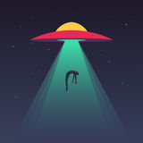 UFO abducts human vector illustration