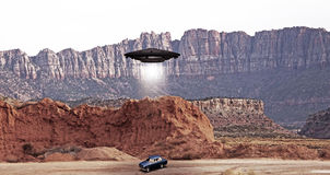 Ufo abdution. Ufo abduction in the desert Royalty Free Stock Photo