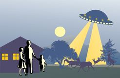 UFO above family Royalty Free Stock Image