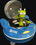 Ufo and Alien. A cartoon alien in his unidentified flying object ufo Stock Photos