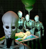 Ufo alien abduction. A human abducted by grey aliens in 3d Royalty Free Illustration