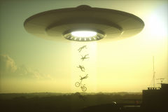 UFO Alien Abduction. 3D illustration. Concept of alien abduction. People levitating into the alien ship Royalty Free Illustration