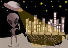 UFO alien background illustration royalty free illustration