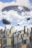 Ufo alien fleet over a city. 3D render science fiction illustration Stock Images