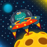 UFO alien. Flying saucer - vector illustration stock illustration