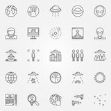 UFO and alien icons set Stock Image