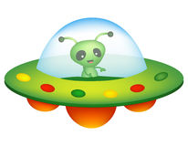 UFO and alien. Illustration of a colorful cartoon UFO / unidentified flying object with a happy smiling alien inside isolated on white background royalty free illustration