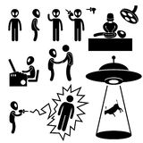 UFO Alien Invaders Pictogram. A set of pictogram representing UFO, aliens, and invaders interacting with living thing on Earth Royalty Free Stock Photography