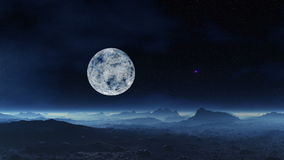 UFO and alien moon landscape. Stone desert. Hills and stones reflect the light of the stars. Horizon and the entire surface is covered with a blue glowing fog stock video