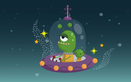 UFO. An alien riding a UFO royalty free illustration
