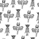 Ufo alien seamless pattern. Hand drawn coloring page for kids an Stock Photo
