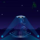 UFO alien ship night city road spotlights Stock Photography