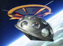 Ufo and alien shuttle. An ufo and deploy a shuttle in orbit in 3d Stock Images