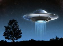 Ufo - Alien spaceship 3d isolated illustration. On white background Royalty Free Stock Photo