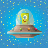 Ufo. alien vector. flying saucer Royalty Free Stock Images