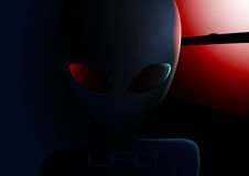 UFO alien visitor next to window at night Royalty Free Stock Images