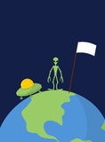 UFO and alien with white flag stands on Earth. Vector background Royalty Free Stock Image