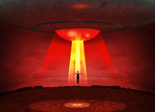 UFO Aliens Abduction. 3D illustration of an UFO aliens abducting a person during a spooky evening Stock Illustration