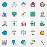 UFO and aliens flat icons Stock Photo