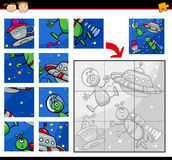 Ufo aliens jigsaw puzzle game Royalty Free Stock Image