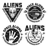 UFO and Aliens vector emblems, labels, badges. Aliens and ufo set of vector black emblems, labels, badges or logos in vintage style isolated on white background Royalty Free Stock Photos