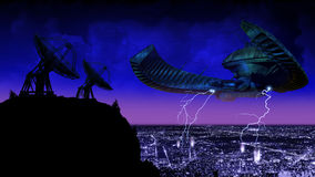 Ufo answering. A giant Ufo approaches a big city at night, answering to the messages sent by the radio telescopes vector illustration