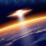 UFO approaches planet Earth vector illustration