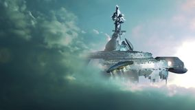 UFO approaching gigantic mother-ship. Futuristic sequence with UFO approaching a gigantic mothership in the clouds. Animation sequence for alien spaceship or stock video