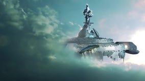 UFO approchant le ravitailleur gigantesque illustration stock