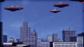 UFO Armada over downtown. stock footage