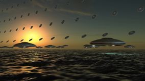UFO Array flying in formation over the sea. Array of unidentified flying objects, flying in formation over a wavy sea in sunset stock footage