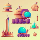 UFO, astronavi, stazioni di ricerca spaziale illustrazione vettoriale
