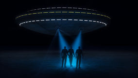 Ufo attacking and abducting Stock Photo