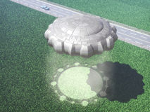 UFO-ausländischer Getreidekreis Stockfoto