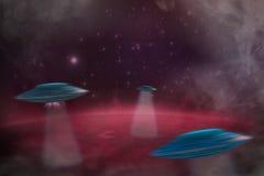 UFO avec un faisceau lumineux image stock
