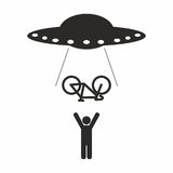 UFO Bike abduction. If you lift your bike above your head it might be taken by aliens! Vector in CMYK Stock Illustration