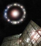 UFO boven de bouw Royalty-vrije Stock Afbeelding
