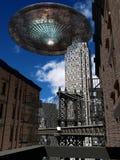 UFO boven de stad Stock Fotografie