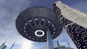 UFO boven een futuristische stad Stock Afbeeldingen